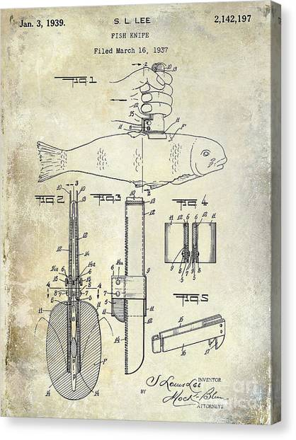Fishing Poles Canvas Print - 1937 Fishing Knife Patent by Jon Neidert