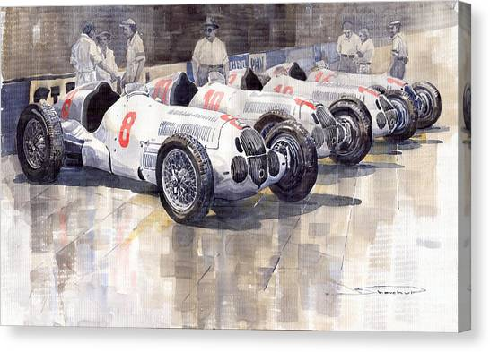 Sports Cars Canvas Print - 1937 Monaco Gp Team Mercedes Benz W125 by Yuriy Shevchuk