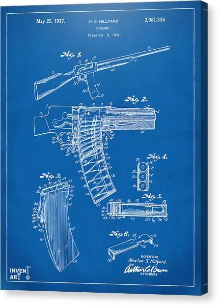 Police Officers Canvas Print - 1937 Police Remington Model 8 Magazine Patent Artwork - Blueprin by Nikki Marie Smith