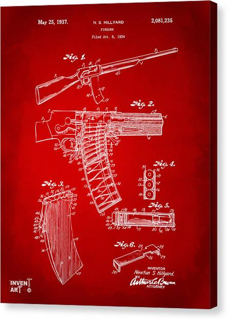Police Officers Canvas Print - 1937 Police Remington Model 8 Magazine Patent Artwork - Red by Nikki Marie Smith