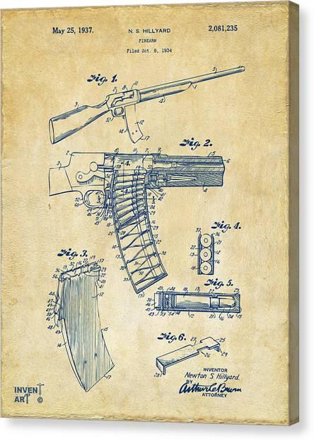 Police Officer Canvas Print - 1937 Police Remington Model 8 Magazine Patent Artwork - Vintage by Nikki Marie Smith