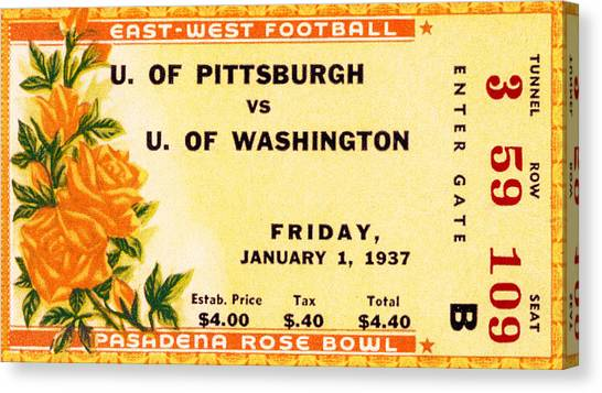 University Of Washington Canvas Print - 1937 Rose Bowl Ticket by David Patterson