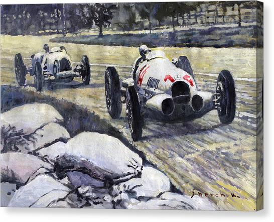 Swiss Canvas Print - 1937 Rudolf Caracciola Winning Swiss Gp W 125 by Yuriy Shevchuk
