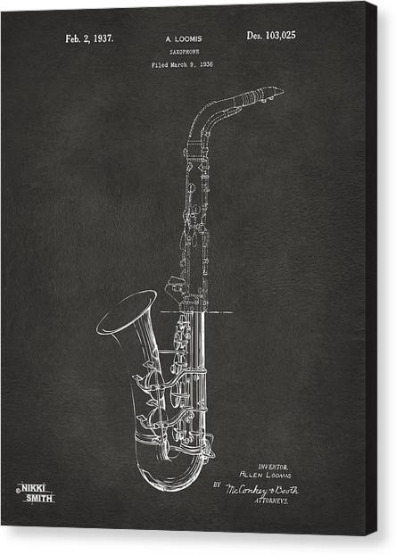 Marching Band Canvas Print - 1937 Saxophone Patent Artwork - Gray by Nikki Marie Smith