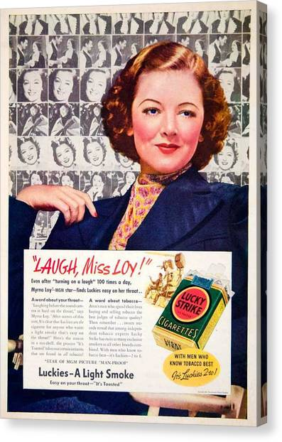 1938 - Lucky Strike Cigarettes Advertising - Myrna Loy - Color Canvas Print