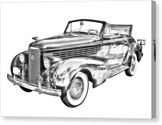 Classic Car Drawings Canvas Print - 1938 Cadillac Lasalle Illustration by Keith Webber Jr
