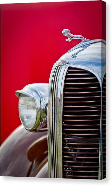 Dodge - Plymouth - Chrysler Automobiles Canvas Print - 1938 Dodge Ram Grille by Jill Reger