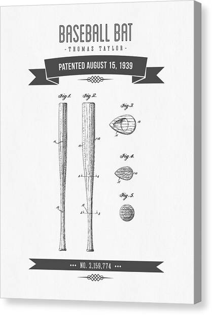 Baseball Canvas Print - 1939 Baseball Bat Patent Drawing by Aged Pixel