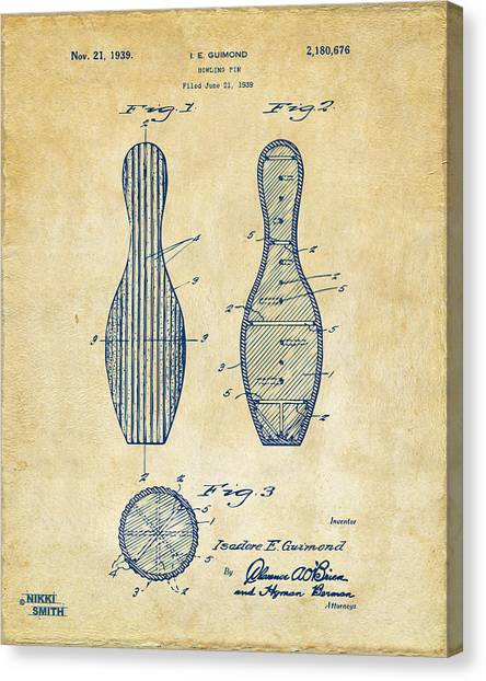 Bowling Alley Canvas Print - 1939 Bowling Pin Patent Artwork - Vintage by Nikki Marie Smith