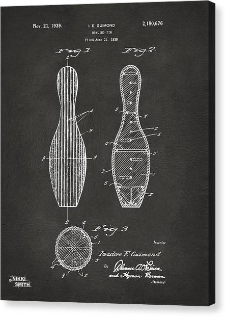 Bowling Alley Canvas Print - 1939 Bowling Pin Patent Artwork - Gray by Nikki Marie Smith