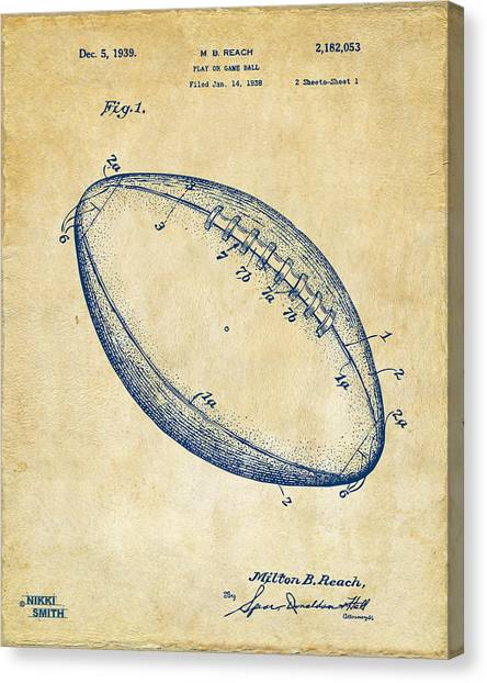 Nfl Canvas Print - 1939 Football Patent Artwork - Vintage by Nikki Marie Smith