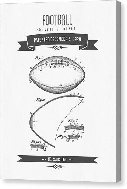 Gridiron Canvas Print - 1939 Football Patent Drawing - Retro Gray by Aged Pixel