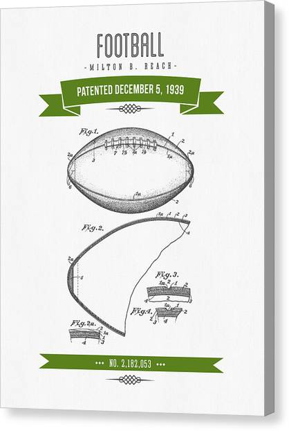 Gridiron Canvas Print - 1939 Football Patent Drawing - Retro Green by Aged Pixel