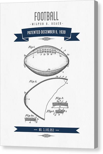 Gridiron Canvas Print - 1939 Football Patent Drawing - Retro Navy Blue by Aged Pixel