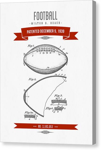 Gridiron Canvas Print - 1939 Football Patent Drawing - Retro Red by Aged Pixel