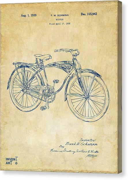 Bicycle Canvas Print - 1939 Schwinn Bicycle Patent Artwork Vintage by Nikki Marie Smith