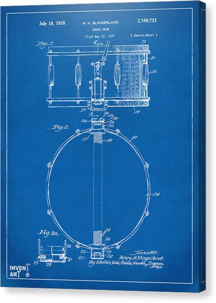 Snares Canvas Print - 1939 Snare Drum Patent Blueprint by Nikki Marie Smith