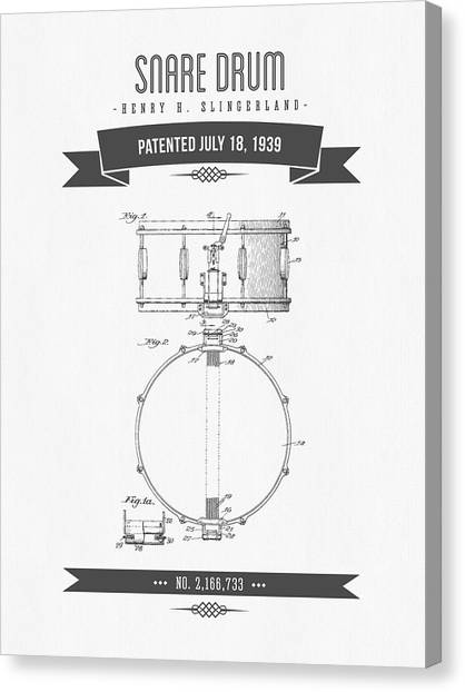 Snares Canvas Print - 1939 Snare Drum Patent Drawing by Aged Pixel