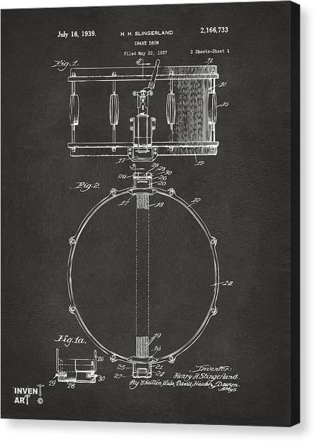 Snares Canvas Print - 1939 Snare Drum Patent Gray by Nikki Marie Smith