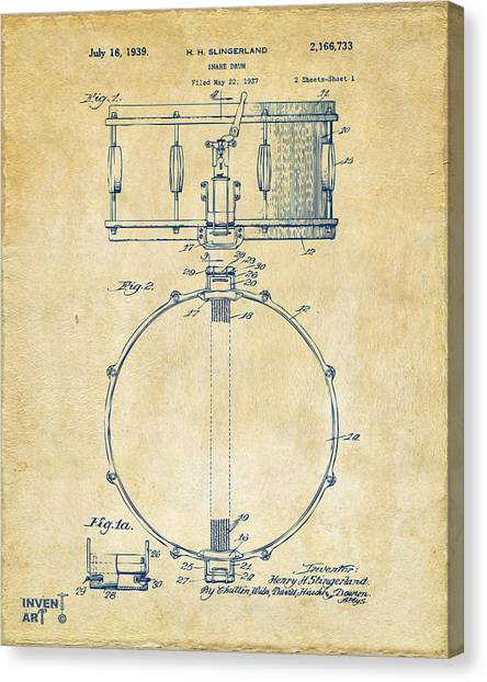 Snares Canvas Print - 1939 Snare Drum Patent Vintage by Nikki Marie Smith