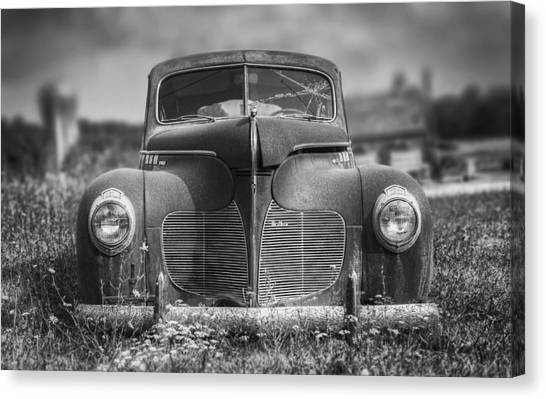 Chrome Canvas Print - 1940 Desoto Deluxe Black And White by Scott Norris