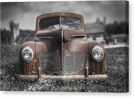Pasture Canvas Print - 1940 Desoto Deluxe With Spot Color by Scott Norris