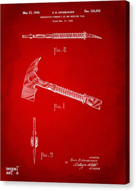 Axes Canvas Print - 1940 Firemans Axe Artwork Red by Nikki Marie Smith