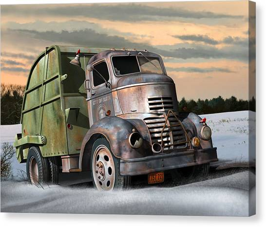 Rusty Truck Canvas Print - 1940 Gmc Garbage Truck by Stuart Swartz