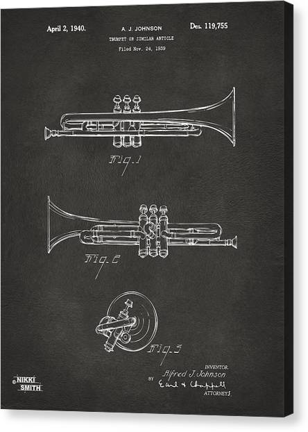 Marching Band Canvas Print - 1940 Trumpet Patent Artwork - Gray by Nikki Marie Smith