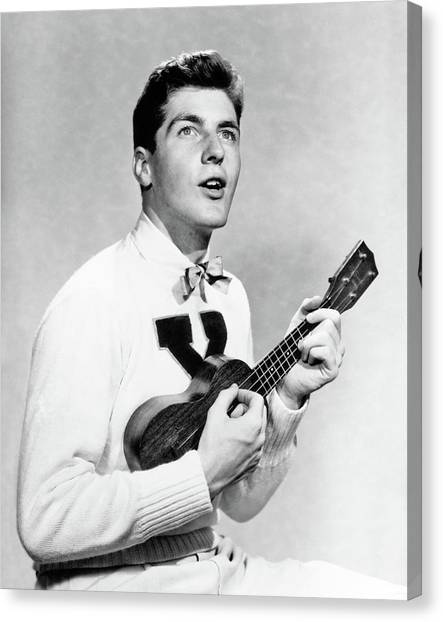 Ukuleles Canvas Print - 1940s 1950s College Boy Wearing X by Vintage Images