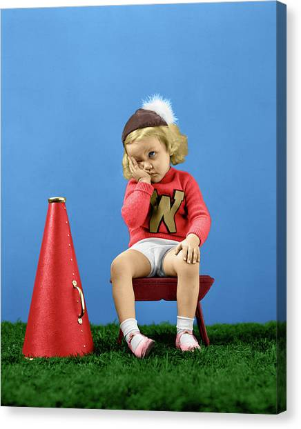 Cheerleading Canvas Print - 1940s Cheerleader Wearing Cap Varisty by Vintage Images