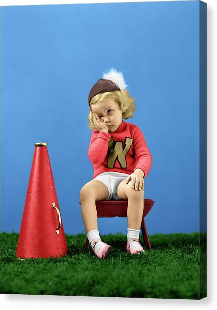 Cheerleading Canvas Print - 1940s Cheerleader Wearing Cap Varisty by Vintage Images