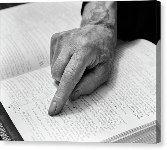 Serenity Prayer Canvas Print - 1940s Hand Of Elderly Man Reading Bible by Vintage Images