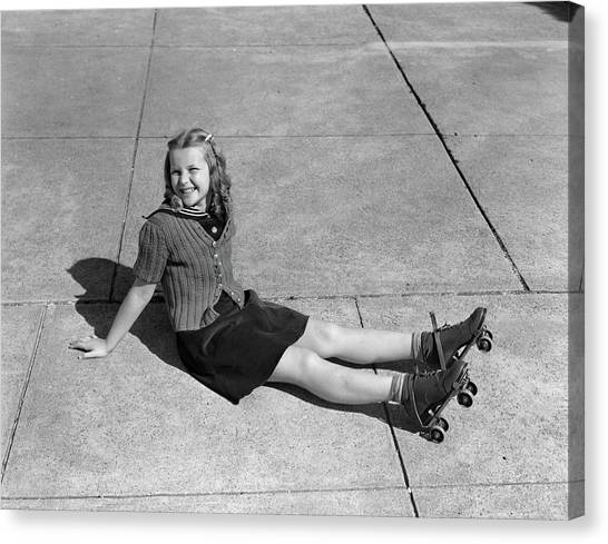 Roller Skating Canvas Print - 1940s Little Girl Fallen Sitting by Vintage Images