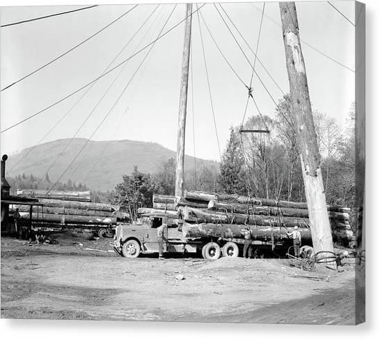 Deforestation Canvas Print - 1940s Logging Truck Lumber Deforestation by Vintage Images