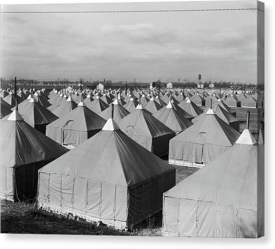 Atlantic Division Canvas Print - 1940s Tent City Military Training by Vintage Images