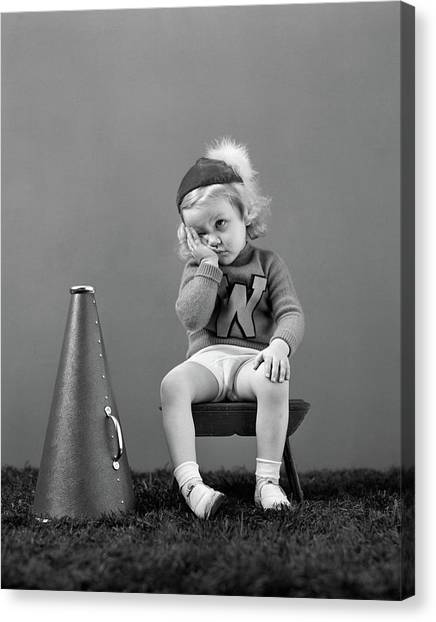 Cheerleading Canvas Print - 1940s Unhappy Little Girl Cheerleader by Vintage Images
