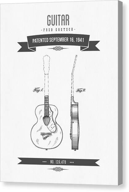 Guitars Canvas Print - 1941 Guitar Patent Drawing by Aged Pixel