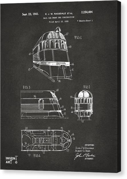 Caboose Canvas Print - 1941 Zephyr Train Patent Gray by Nikki Marie Smith