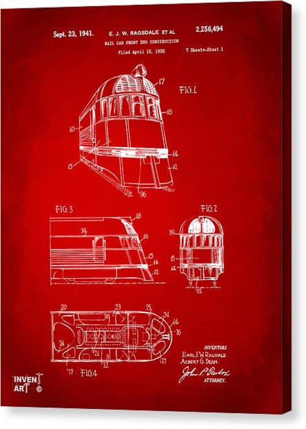 Caboose Canvas Print - 1941 Zephyr Train Patent Red by Nikki Marie Smith