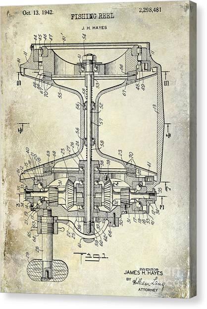 Fishing Poles Canvas Print - 1942 Fishing Reel Patent Drawing by Jon Neidert