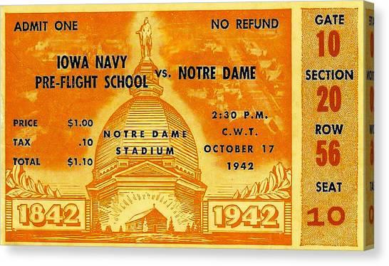 1942 Football Ticket Notre Dame Vs Iowa Navy Pre-flight Canvas Print