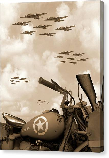 Motorcycle Canvas Print - 1942 Indian 841 - B-17 Flying Fortress' by Mike McGlothlen