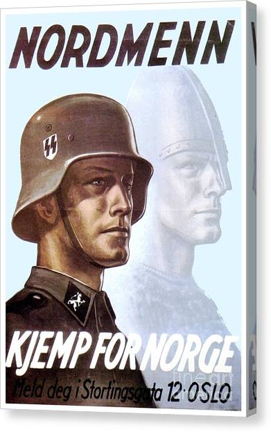 1943 - German Waffen Ss Recruitment Poster - Norway - Color Canvas Print