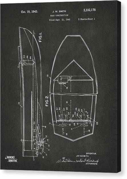 Water Sports Art Canvas Print - 1943 Chris Craft Boat Patent Artwork - Gray by Nikki Marie Smith