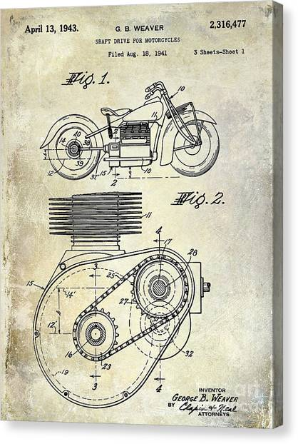 Ducati Canvas Print - 1943 Indian Motorcycle Patent Drawing by Jon Neidert