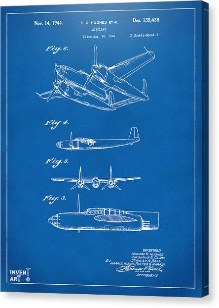 Paper airplane canvas prints page 2 of 11 fine art america paper airplane canvas print 1944 howard hughes airplane patent artwork 2 blueprint by nikki marie malvernweather Choice Image