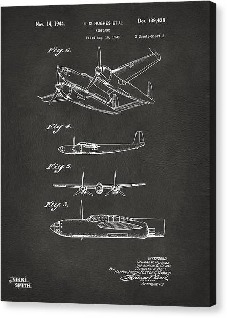Paper Planes Canvas Print - 1944 Howard Hughes Airplane Patent Artwork 2 - Gray by Nikki Marie Smith