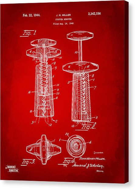 Lovers Drawing Canvas Print - 1944 Wine Corkscrew Patent Artwork - Red by Nikki Marie Smith