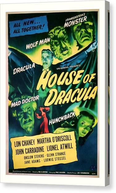 1945 House Of Dracula Vintage Movie Art Canvas Print
